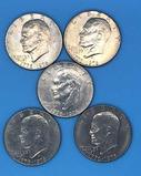 (5) U. S. Bicentennial Eisenhower Silver Dollars