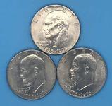 (3) U. S. Bicentennial Eisenhower Silver Dollars