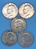 (5) 1972 U. S. Eisenhower Silver Dollars--No