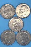 (5) 1972 U. S. Eisenhower Silver Dollars--(2)