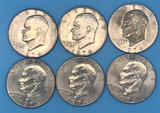 (6) 1974 U. S. Eisenhower Silver Dollars:  (4)