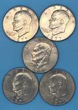 (5) 1977 U. S. Eisenhower Silver Dollars--D Mint