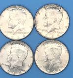 (4) 1964 U.S. Kennedy Half Dollars, 90% Silver