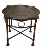 Collage End Table--Hand Wrought-Iron Base,