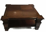 Square Coffee Table--Hand Carved Wood with Figured