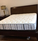 Eastern King-Size Bed with Walnut Finish--