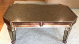 Coffee Table, Antique Silver with Bronze Trim,