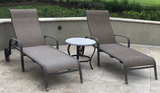 (2) Tropitone Outdoor Lounge Chairs, (1) Table