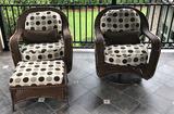 (2) Outdoor Wicker Rocking/Swivel Chairs
