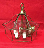 Vintage  Brass Light Fixture with Etched