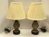 (2) 19th Century Ceramic Owl Figurines Converted to Lamps,
