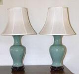 (2) Celadon Table Lamps--
