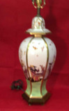 Hand Painted Table Lamp with Gold Trim