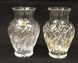 (2) Hand Cut Lead Crystal Vases, 5 1/2