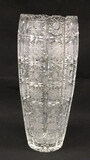Cut Glass Vase with Saw Tooth Rim, 14 1/8