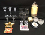 Assorted Glass and Cut Glass Candle Holders,