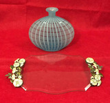 """Glass Vase - 9"""" W x 8"""" H and Dresser Tray - 15"""