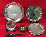 Assorted Silver Plate Items:  Round 12 3/8