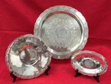 (3) Silver Plate Trays:  15