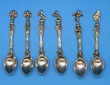 Set of (6) Italian Silver Plate  Ornate Figural
