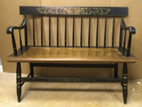 Antique Hitchcock Deacon's Bench with Stenciling, 42