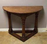 Vintage Oak Demi Lune Table--36