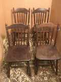 Set of (4) Vintage Spindle Back Dining Chairs