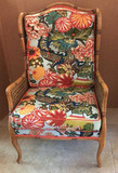 Bamboo and Cane Upholstered Chair, Cabriole