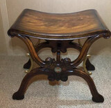 Mahogany Ornate Bench with Brass Mounts--Signed