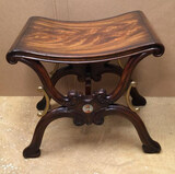 Mahogany Ornate Bench with Brass Mounts Signed