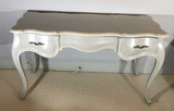 Painted Three-Drawer Desk/Vanity, Brass
