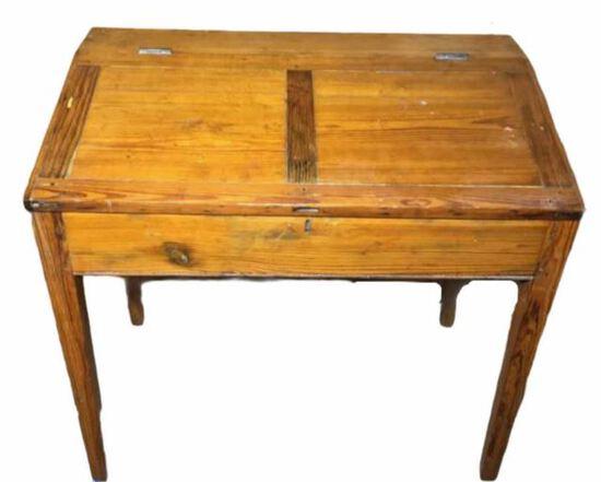 Heart Pine Hand Made Slant Top Plantation Desk—
