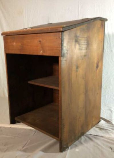 Hand Made Pine Slant Top Stand with Hinged