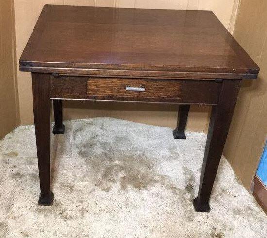 "Antique Oak One-Drawer Desk--36"" x 32"", 30 1/2"""