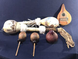 (2) Native American Hand Painted Hand  Rattle