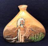 Ceramic Vase with Native American Scene