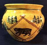 Yellow and Gold Ceramic Vase/Planter with Bear