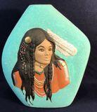 Turquoise Glitter Ceramic Vase with Native