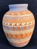 Native American Design Pottery Vase, Signed W.