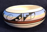 Native American Pottery Bowl Signed ''LH Navajo''