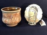 Ceramic Planter with Native American Scenes and