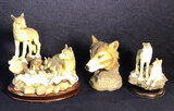 (3) Resin Wolves Figurines: Wolf Family on