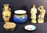 Brown Ceramic Vase (Chip at base), 6 in. Blue
