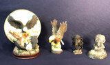 Eagle Plate and Stand, Resin; Metal Eagle