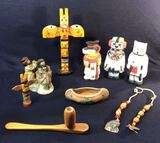 Wooden Pipe; Small Totem Pole; Resin Native