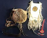 (2) Native American Bags; Beaded Necklace and