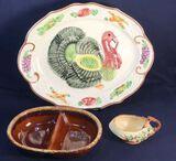 Turkey Platter, Hull Pottery Divided Dish and