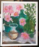 "Framed Oil Painting ""Bottledaze'' Signed Baxley"