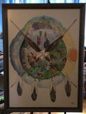 """Framed Watercolor """"Circle of Life'' Signed  """"LVS''"""