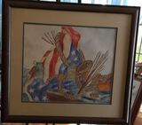 Framed and Double Matted Painting Signed Velma